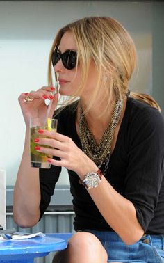 Olivia Palermo at a cafe in New York