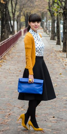 preppy look with mustard and blue dots