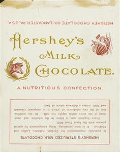 """The first Hershey bar wrapper circa 5 cents for this """"nutritious confection. Hershey Milk Chocolate Bar, Chocolate Line, Chocolate Bar Wrappers, Chocolate Heaven, Hershey Candy, Hershey Bar, Old Candy, Cake Kit, Vintage Packaging"""