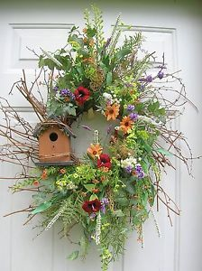 wreaths with bird houses | ... about Primitive Wildflowers, Birdhouse Summer Door Wreath Arrangements