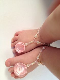 Beaded Barefoot baby Sandals by LiatDesign on Etsy, $20.00