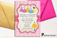 Princess Dress Up Birthday Invitation (Design Fee)- Pixiebola Designs by pixieboladesigns on Etsy https://www.etsy.com/listing/127082642/princess-dress-up-birthday-invitation