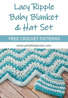 This lacy ripple baby blanket and hat set makes a great gift for any new mom and is sure to become a treasured keepsake! #crochet via @petalstopicots Baby Girl Crochet, Crochet Baby Hats, Baby Blanket Crochet, Crochet Blankets, Booties Crochet, Crochet Stitches Chart, Afghan Crochet Patterns, Knitting Patterns, Crochet Ripple