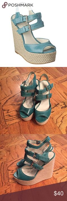 Nine West teal espadrille wedges size 6 Nine West teal espadrille wedges size 6. NWOT. reasonable offers are welcome. 100% Authentic. No trades Nine West Shoes Espadrilles