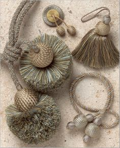 Devonshire Collection offers a vast array of trimmings in wide selection of colorways. Silk Ribbon Embroidery, Hand Embroidery Designs, Saree Tassels Designs, Diy Tassel, Passementerie, Diy And Crafts, Sewing Projects, Handmade, Pom Poms