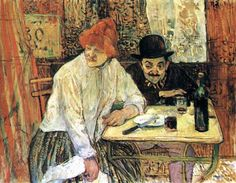 Henri de Toulouse-Lautrec (French, 1864–1901) - At Cafe La Mie, 1891