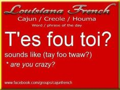 French is the second most taught language in the world only after English. French as well as English is the official working language of the International Red Cross, NATO, the United Nations, the International Olympic Committee and ma Cajun French, French Creole, Louisiana History, New Orleans Louisiana, French Phrases, French Words, How To Speak French, Learn French, Louisiana Creole