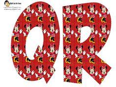 Alfabeto de Minnie Mouse en fondo rojo con lunares blancos. 2 versiones.