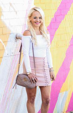 Lace-up blush skirt & Gucci bag