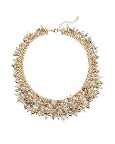 White House | Black Market Pearl Bib Necklace  Pearl Stretch Bracelet #whbm