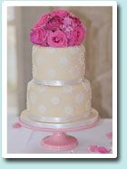 double height layers, with fresh pink flowers