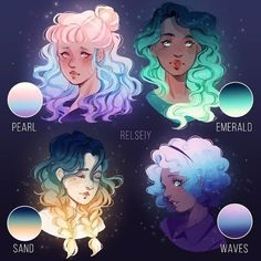 Gradient gals II, which is your fav? These are all ocean inspired colour palettes I'm trying out for an underwater illustration I'm working on. Colouring the illustration i felt like it was too blue. So i took some headshots i sketched out a while ago a Pretty Art, Cute Art, Poses References, Digital Art Tutorial, Character Design Inspiration, Style Inspiration, Hair Art, Cute Drawings, Art Tutorials