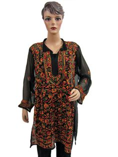 Kurti for Womens Georgette Black Red Embroidered Tunic Top Dress L  $36.99
