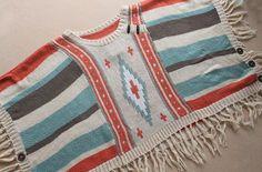 Vintage Indian Navajo Gypsy Aztec Tribal Hippie Loose Fringe Sweater Poncho Chic   eBay