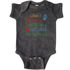 Inktastic Test Pilot Like Daddy Infant Creeper Baby Bodysuit Child's Kids Gift Pilot's Son Childs My Cute Occupation Apparel Job Career Handprints One-piece Hws, Boy's, Size: 24 Months, Black