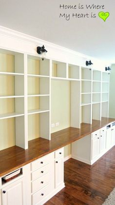 15 Fun & Amazing Craft Room Ideas build a wall-to-wall built-in desk and bookcase unit, Home Is Where My Heart Is featured on Remodelaholic Built In Desk, Built In Bookcase, Bookcase Plans, Diy Bookcases, Bookshelf Desk, Desk Wall Unit, Office Built Ins, Office Bookshelves, Ana White Bookshelves
