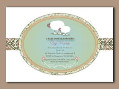 Little Lamb Baby Shower Invitations - 24 printed cards with envelopes. $40.00, via Etsy.