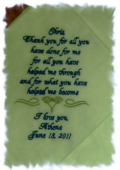 Personalized Wedding Handkerchief Step Father Of The Bride You Choose Verse 16 00 Via