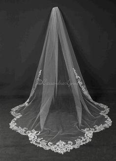 "Wedding Veil Royal Cathedral 2 Tier 108/"" Width  28/"" 144/"" length Ribbon Edge"