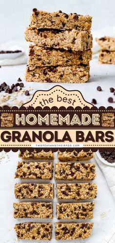 Ever wondered how to make granola bars? These no-bake Peanut Butter Chocolate Chip Granola Bars are healthy homemade granola bars that are satisfying, sweet, and a great on-the-go breakfast recipe. Healthy Granola Bars, Homemade Granola Bars, Chocolate Chip Granola Bars, Mini Chocolate Chips, Creamy Peanut Butter, Chocolate Peanut Butter, How To Make Granola, Delicious Breakfast Recipes, Snacks