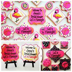 Let's Flamingle bridal shower cookies