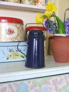Vintage Blue Enamel French Milk Can