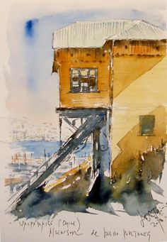 Watercolor Scenery, Watercolor Paintings, Pen And Wash, Urban Sketching, Travel Light, Art Sketchbook, Watercolours, Chile, Sketches