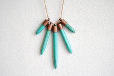 Turquoise Dagger Necklace  Handmade Tribal Jewelry  by SPARKLEFARM, £19.11