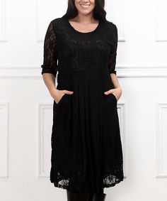 Loving this Black Lace Skater Dress - Plus on #zulily! #zulilyfinds
