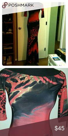 Beautiful colors maxi dress NWOT Maxi dress beautiful colors corals purple black Ducci Dresses Maxi