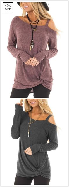 Travel on trend in a fashion top with one shoulder. This piece has irregular design that gives you a relax touch, Moreover, it is with cross front, which makes you look special compared with the other top. Pair it with leggings is perfect.