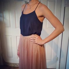 #perfect #outfit #rose #tulle #midi #tealength #skirt #fun #play #work #doubleduty #navy #tank #simple #elegant #classy #essential #wardrobe #soleil #froufroucouture