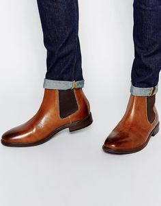 Image 1 of ASOS Chelsea Boots in Tan Leather