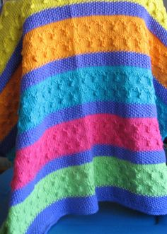 Crochet Rainbow Baby Blanket Multi Color Primary Colors