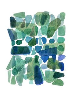 A giclee print captures the shades of the sea.