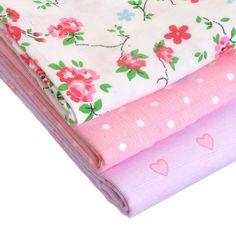 Zippy Baby Girl Muslin Squares 3 pack Pastel Pinks