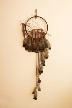 """Branch Dreamcatcher, Hawk - 10"""", dark brown, large wall art, iridescent wild turkey feathers"""