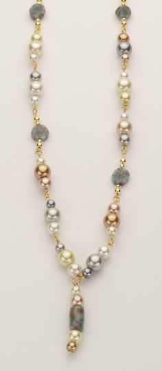 Koi Pond pearl gold tone necklace. SOLD