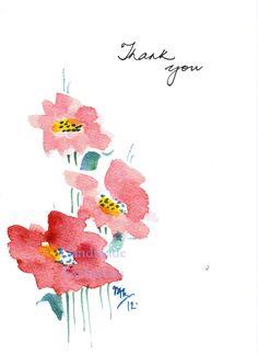 Sale Handpainted Greeting Cards, Set of Red flowers, Thank you, Original Watercolor Art, Teacher's gift Free Watercolor Flowers, Watercolor Art Face, Watercolor Art Lessons, Watercolor Art Paintings, Watercolor Cards, Watercolours, Paint Cards, Red Flowers, Flower Art