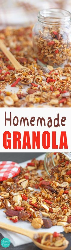 Super Healthy Homemade Granola - Make your own version of this super healthy breakfast option! Once you try it you won't go back to the shop-bought granola!   happyfoodstube.com