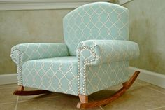 Handmade Childu0027s Rocking Chair   Love The Mint Green Look!