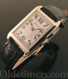 1920s 9ct gold rectangular vintage Rolex watch
