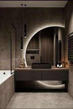 null # amreading # books # wattpad Bathroom Design Luxury, Modern Bathroom Design, Modern House Design, Washroom Design, Modern Apartment Design, Toilet Design, Apartment Interior, Modern Mirror Design, Industrial Bathroom Design