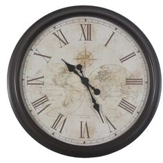Decor Therapy 30-inch Antique Map Clock ($67) ❤ liked on Polyvore featuring home, home decor, clocks, beige, antique home decor, map home decor, antique wall hanging, map wall hanging and antique wall clocks