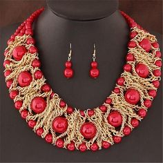 Xiacaier African Beads Jewelry Set Necklace