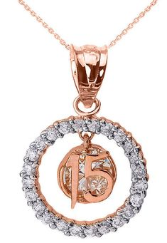 Rose Gold Sweet 15 Años QuinceañeraCZ Round Pendant Necklace in Jewelry & Watches, Fashion Jewelry, Necklaces & Pendants | eBay