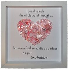 Personalised Auntie Gift, Button Heart Art for Aunties with Quote, Keepsake