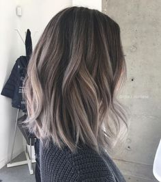 ash balayage and hair cut length