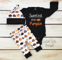 Baby Boys First Halloween Outfit, Black Infant Bodysuit, Leggings And Hat With Pumpkins, Baby Boy Halloween Outfit Set by CustomStylesBoutique on Etsy https://www.etsy.com/listing/482437701/baby-boys-first-halloween-outfit-black