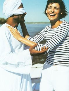 Linda Evangelista in a nautical striped blouse // photographed by Mario Testino for British Vogue, 1997 #style #fashion